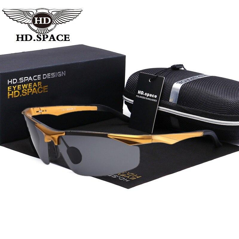 HD Men Ultra Light Motion Eyewear Al-Mg Polarized Sunglasses Male Semi Rimless Oculos De Sol UV400 Driving Fishing Glasses LD036