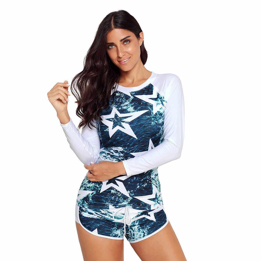 Wanita Panjang Lengan Perlindungan Sinar UV Matahari UPF 50 + Ruam Penjaga TOP 2 Piece Swimsuit Set Wanita Baju Renang Bikini Set # G8