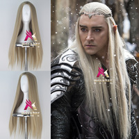 Mens The Hobbit Thranduil cosplay wig king of elf blonde long straight hair King Lee Pace golden wig costumes
