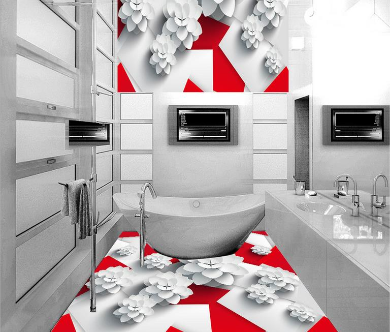 Custom 3d Floor Painting Red And White Box Wallpaper For Bathroom