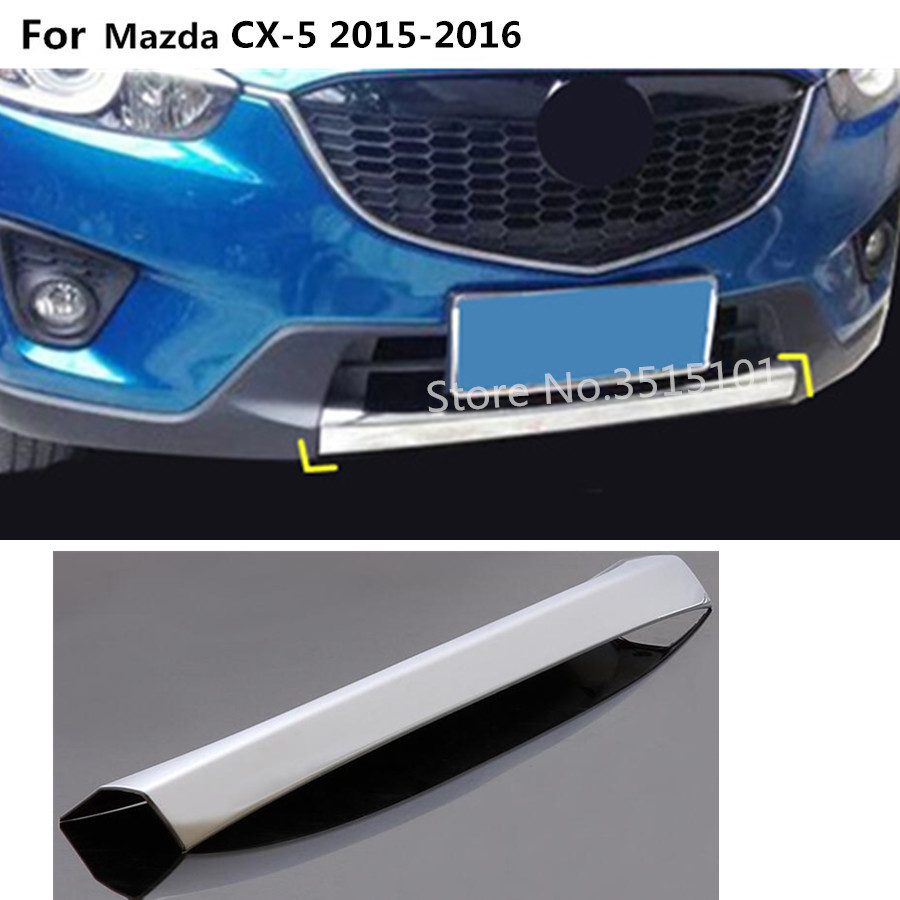 Car cover Bumper ABS Chrome trim Front protection bar Grid Grill Grille frame edge 1pcs For Mazda CX-5 CX5 2013 2014 2015 2016 chrome front grille cover trim for ford fusion 2013 2014 2015