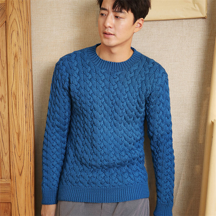 100% Hand Made Pure Wool Oneck Knit Men Fashion Twisted Solid Slim H-straight Short Pullover Sweater One&over Size