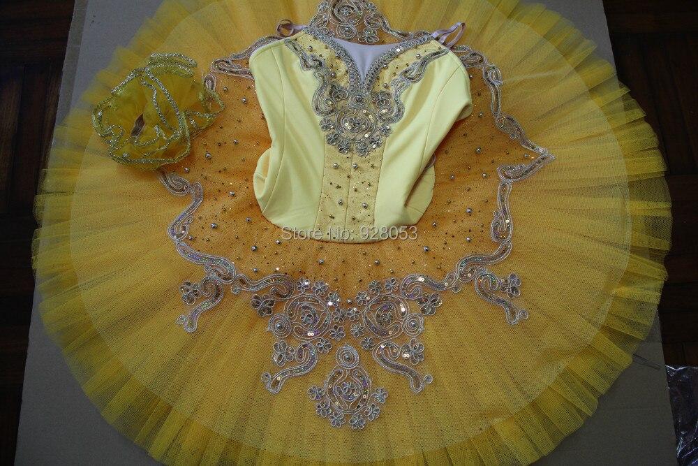 Взрослый/ребенок Балетные костюмы пачка Для женщин Профессиональные коньки желтый платье пачка Классическая Балетные костюмы пачка для та