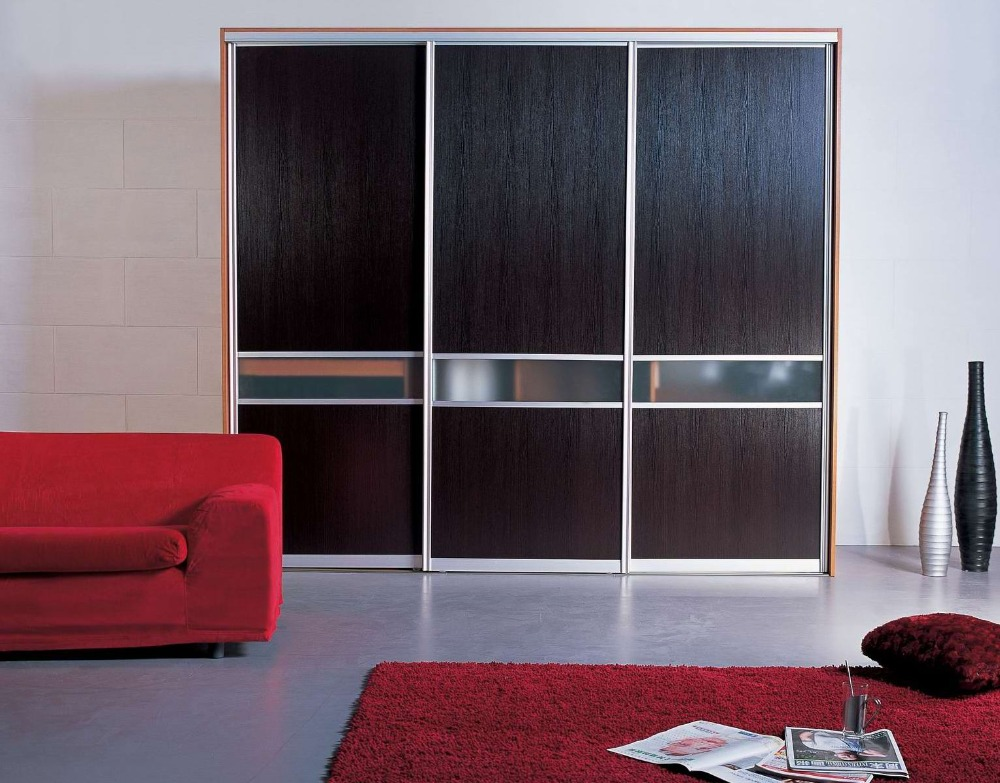 Wood Veneer Closet With Sliding Door