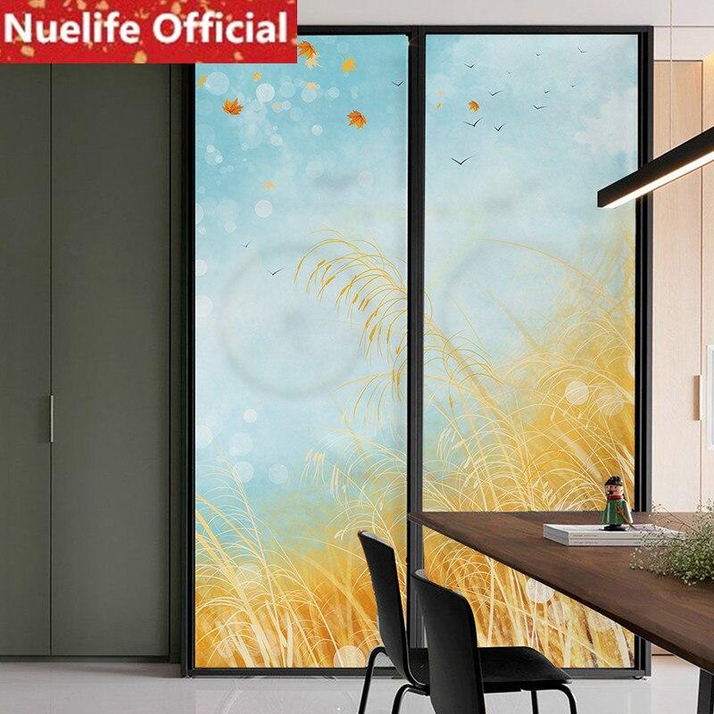 Riz grain parfum motif verre film salle de bain porte verre porte film chambre décoratif fenêtre autocollants film opaque N2