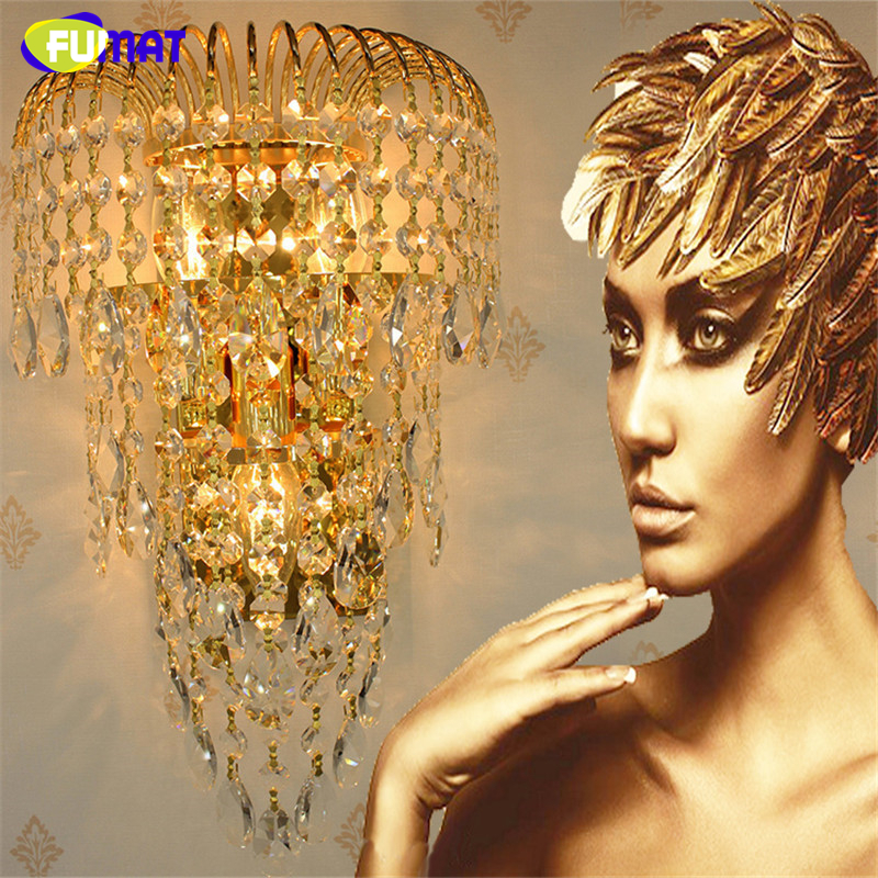 FUMAT K9 Crystal Wall Sconce Modern Luxury LED Gold/Silver Wall Lamp Indoor Lighting Lamp Aisle Bedside Corridor Light Fittings k9 puppy gold