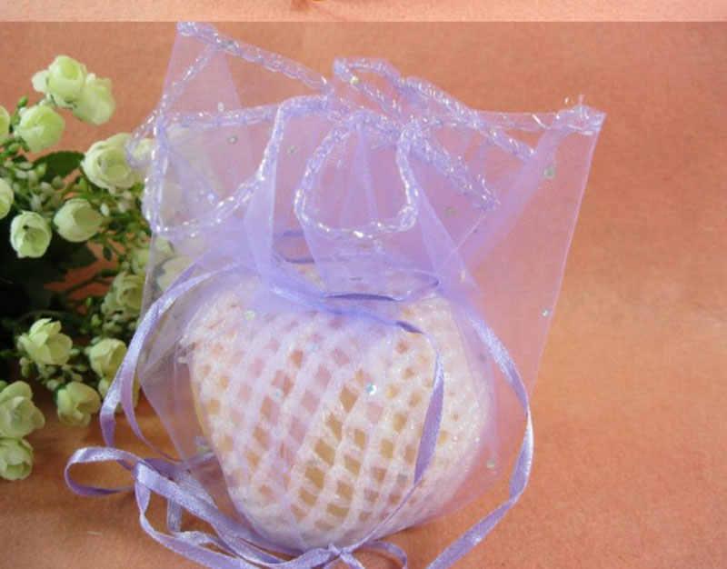 100 pz Sacchetto di Organza Rotondo 26 cm 35 cm 40 cm Drawstring del sacchetto di cerimonia nuziale/regalo di natale borse per monili Packaging Display box di Stoccaggio sacchetti