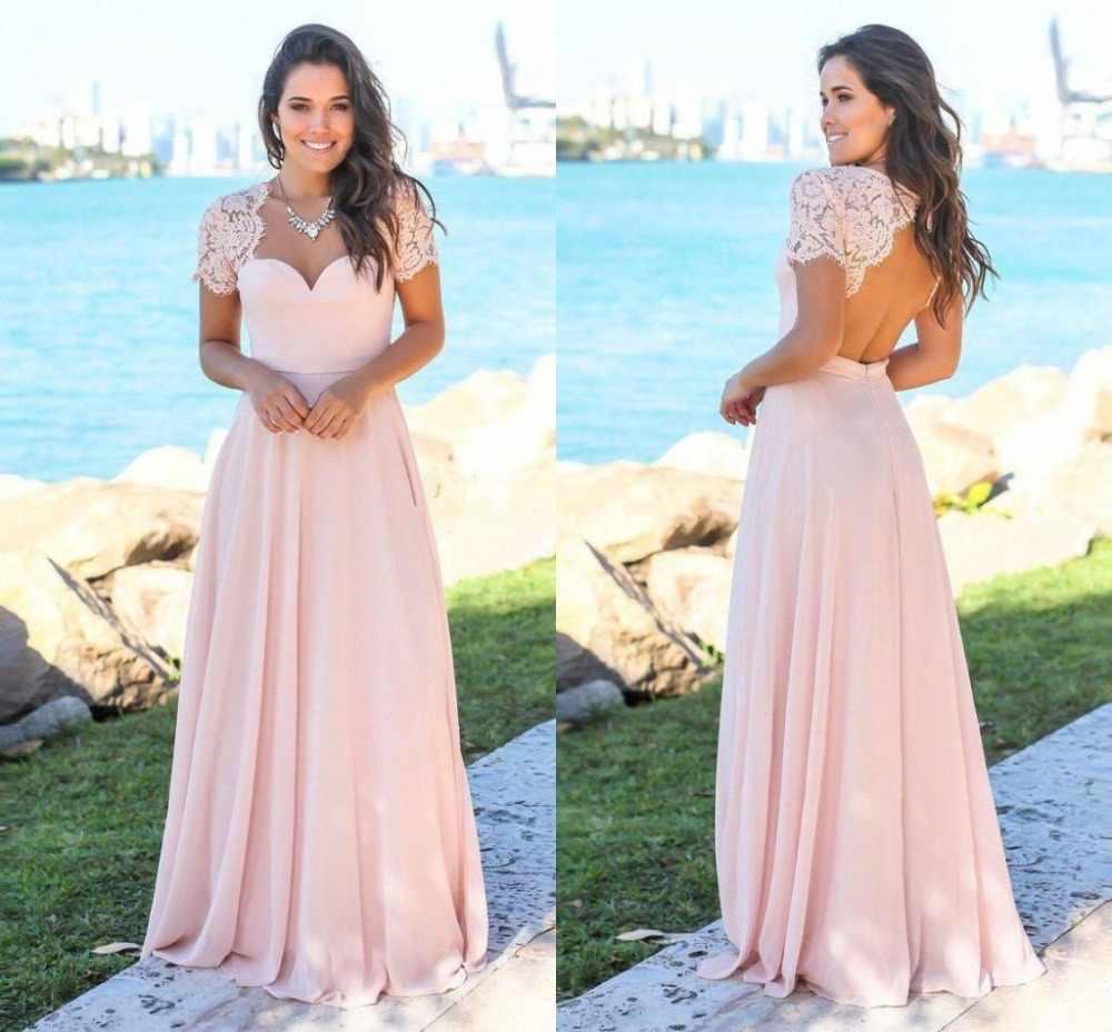 סומק ורוד המדינה שושבינה שמלות מתוקה ללא משענת תחרה שיפון חוף גן חתונת אורחים שמלות השושבינה שמלות