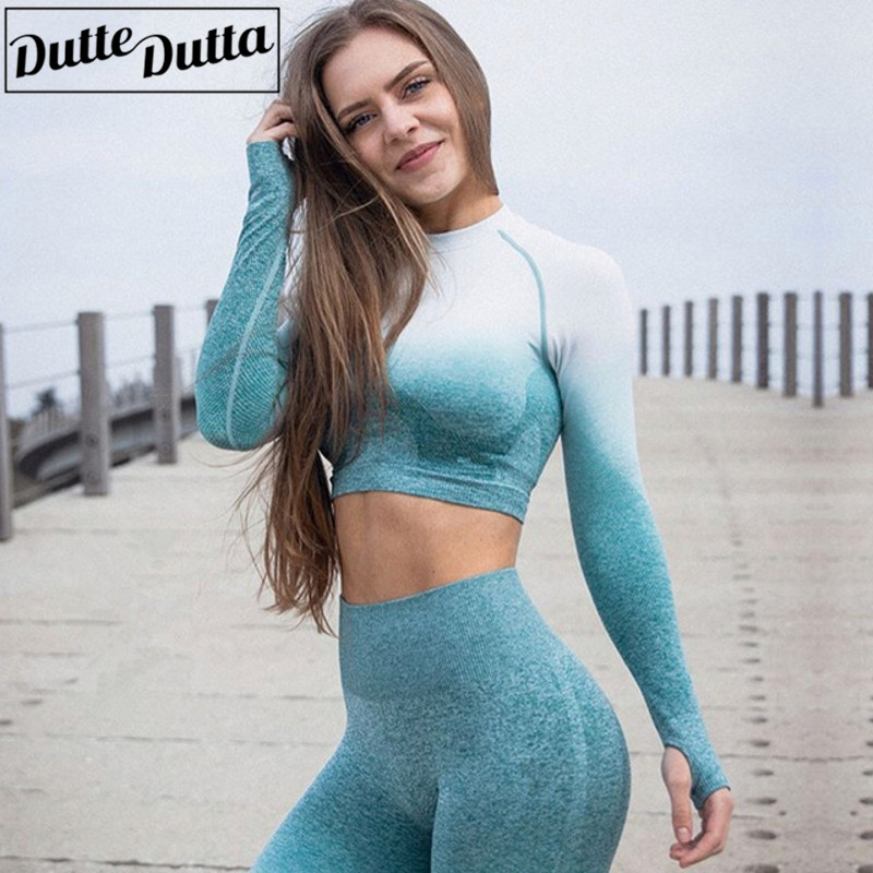 Ombre Long Sleeves Seamless Gym Shirts with Thumb Hole Workout Crop Top Yoga Shirts for Women Fitness Sports Shirt Camisas Mujer цена 2017