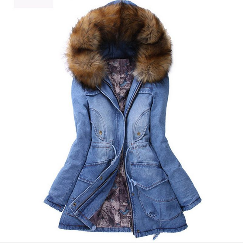 Fashion Brand Denim Jacket Womens Fur Collar Coat Zipper Denim Jeans   Parka   Female Long   Parka   Warm Cotton Fleece Hoody Outwear