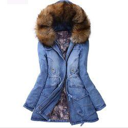 WENYUJH Brand Denim Jacket Women's Fur Collar Coat Zipper Denim Jeans Parka Female Long Parka Warm Cotton Fleece Hoody Outwear