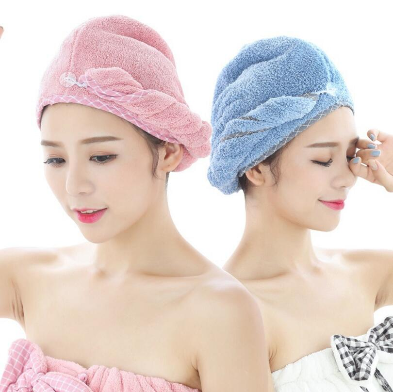 1pcs Coral Velvet Dry Hair Bath Towel Microfiber Quick Drying Turban Super Absorbent Women Hair Cap Wrap with Button thicken