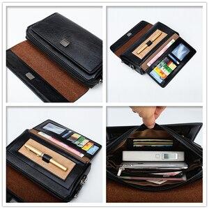Image 5 - ジープbuluo有名なブランド男性のハンドバッグ日クラッチバッグ高級電話とペン高品質革の財布をこぼしハンドバッグ