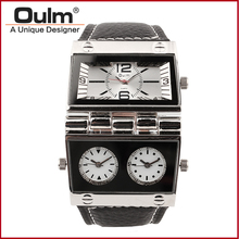 Men watch leather stray Brand wristwatch OULM Multiple Time Zone Quartz watch black white