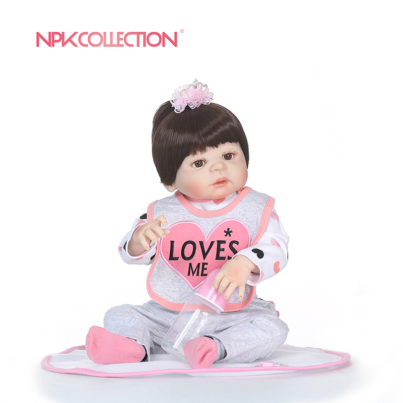 NPKCOLLECTION 56CM Full Silicone Reborn Baby Doll kids Playmate Gift For Girls Baby Girl Alive Soft