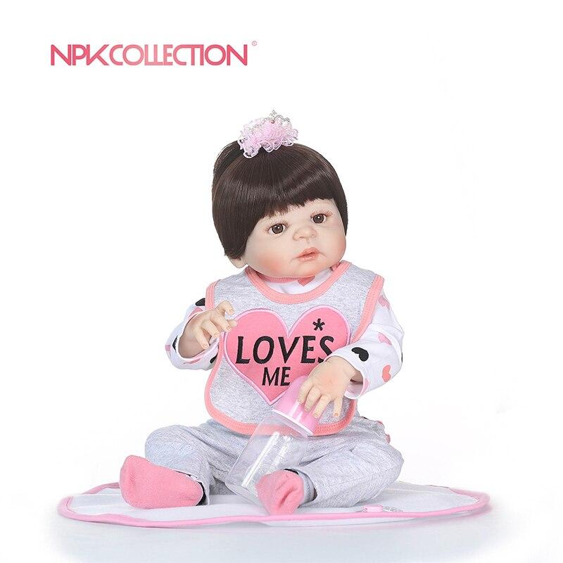 NPKCOLLECTION 56 cm Pieno di Silicone Reborn Baby Doll bambini Compagno di Giochi Regalo Per Le Ragazze Del Bambino Alive Giocattoli Morbidi Per Bebe Reborn brinquedo