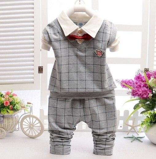 0-3Y new 2016 autumn baby boy british style plaid patchwork t shirt+pant clothing sets 2pcs boys spring autumn clothes set