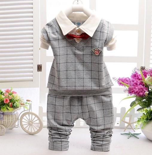0-3Y nueva 2016 otoño bebé del estilo británico a cuadros patchwork camiseta + pant que arropan el 2 unids chicos primavera ropa de otoño conjunto