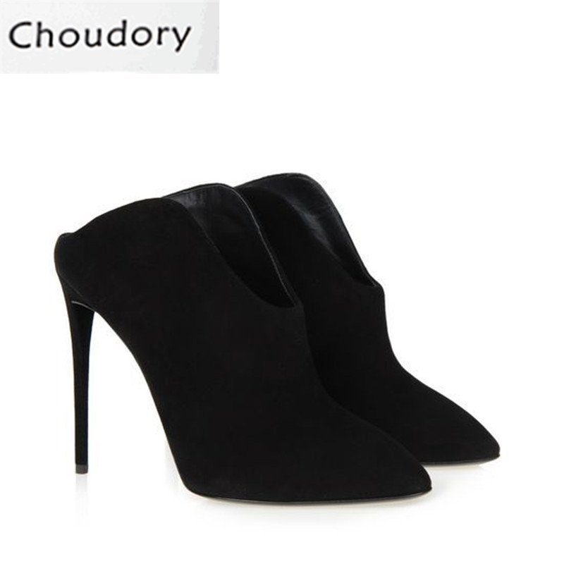 Choudory Shallow Super High Heels Dress Solid Sexy Women Sandals Thin Heels Pumps Half The Slippers Concise Fashion Shoes Woman