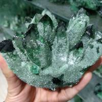 680g Natural Green Ghost Phantom Quartz Crystal Cluster Healing Specimen
