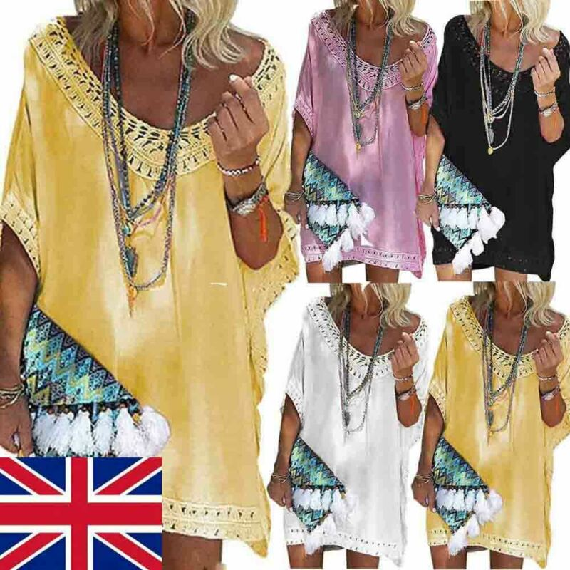Newest trendy summer v-<font><b>neck</b></font> <font><b>sexy</b></font> short Women Beach Dress <font><b>Bikini</b></font> Cover Up Kaftan Holiday Short Sleeve Long Tops image
