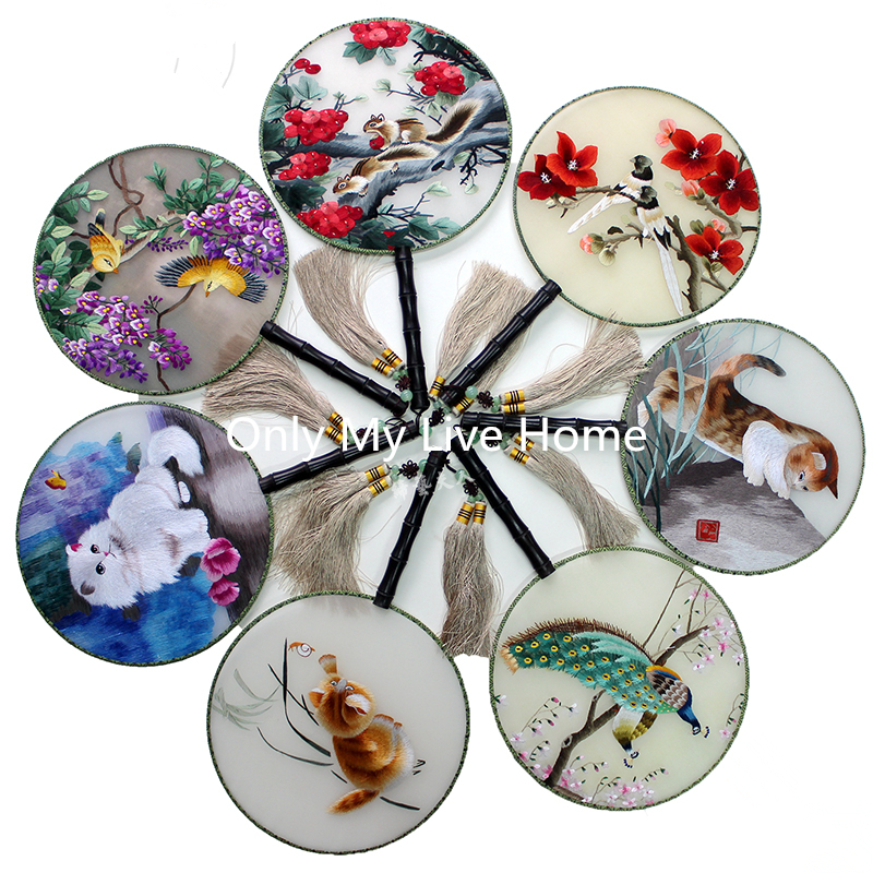 Luxury Decorative Mulberry Silk Round Fan Traditional Craft Gift Fan Handmade Double Embroidered Flower Chinese Hand Held Fans