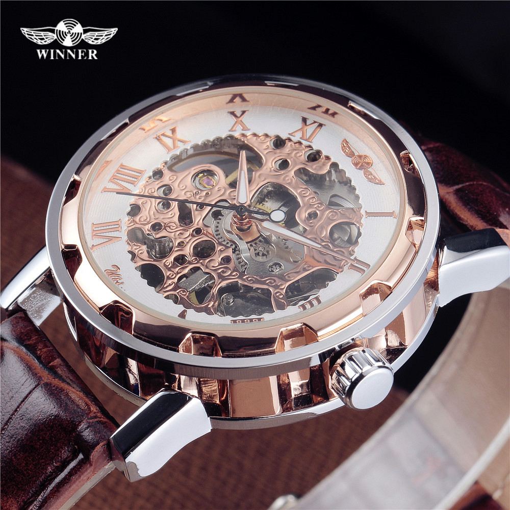 Fashion WINNER Men Luxury Brand Roman Number Hand-wind Leather Skeleton Military Watch Automatic Mechanical Wristwatches Gift ks black skeleton gun tone roman hollow mechanical pocket watch men vintage hand wind clock fobs watches long chain gift ksp069