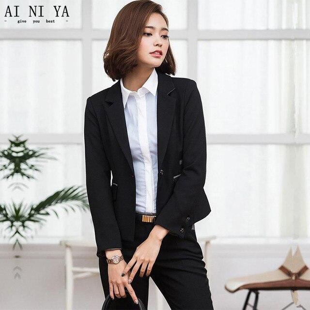 Custom Black Wedding Tuxedo Female Office Uniform Elegant Pant Suits 2  Piece Set Women Trouser Suit Slim Lady Trouser Suit 010271f76d