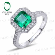 CaiMao 1.18 ct Natural Emerald 18KT/750 White Gold  0.33 ct Round Cut Diamond Engagement Ring Jewelry Gemstone colombian