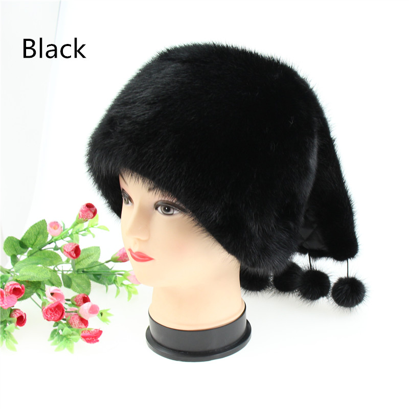 Russian winter fur hat for women real mink fur hat with Decorative ball fashion hot sale women fur cap good quality women s winter hat new real mink fur pom fluffy ball hat cap fox fur ball mink fur fashion russian cap hat for women dhy17 20