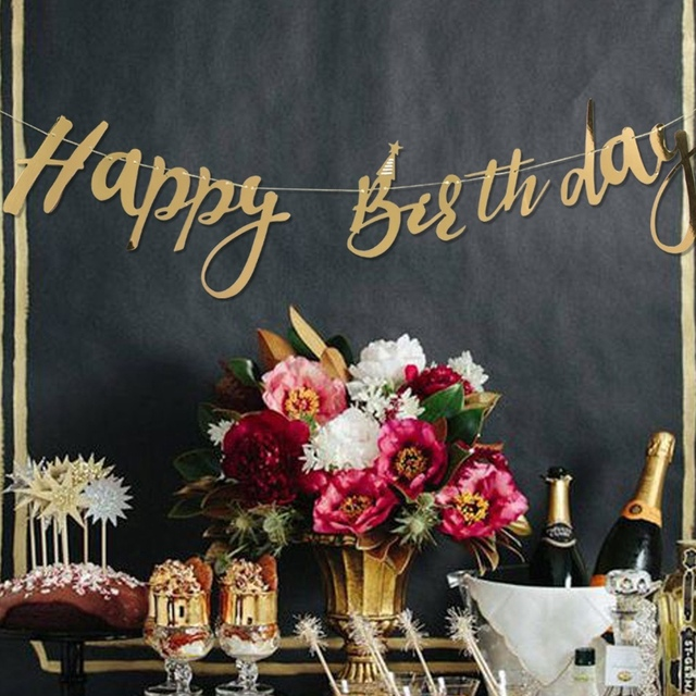 Pack Of 1pc Glitter Gold Happy Birthday Banner For Boys Girls Happy Birthday Decoration Kids First Birthday Decorations