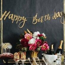 Pacote de 1 pç glitter ouro feliz aniversário bandeira para meninos meninas feliz aniversário decoração crianças primeiro aniversário decorações