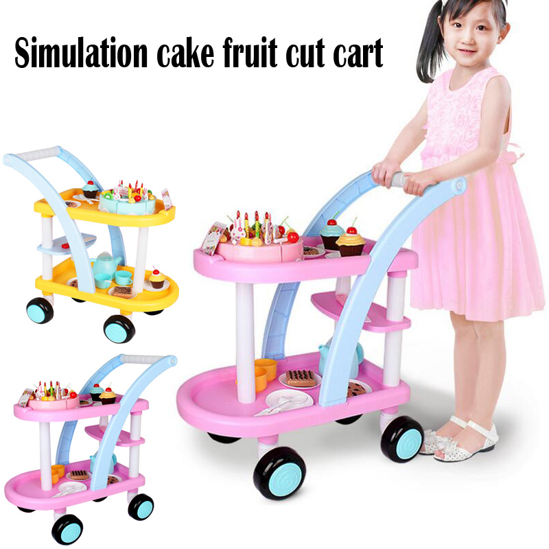 New childrens simulation cake fruit cut off every family birthday cake toy trolley playing house kids birthdays Christmas toys