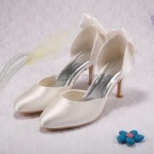 Wedopus Невесты Обувь Женщины кот Атласная Бесплатная Доставка Лук Свадебные Свадебные Насосы Высоких Каблуках