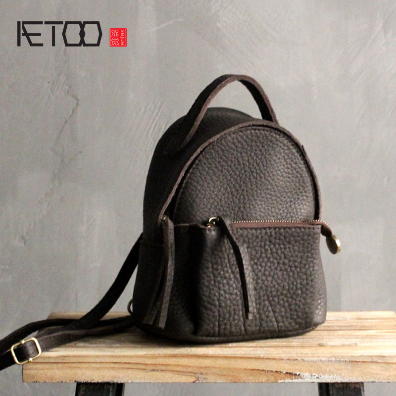 AETOO 2017 new fashion leather mini shoulder bag female Korean version of the first layer of small leather backpack small bag aetoo simple design leather single shoulder bag dual use female package 2017 new korean version of the limelight leather small b