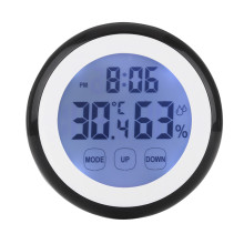 Plastic Digital LCD Humidity Display Wall Clock With Black Light