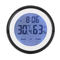 Plastic Digital LCD Electronic Humidity Temperature Time Function Wall   Clock   Thermometer Hygrometer With Black Light   Clocks