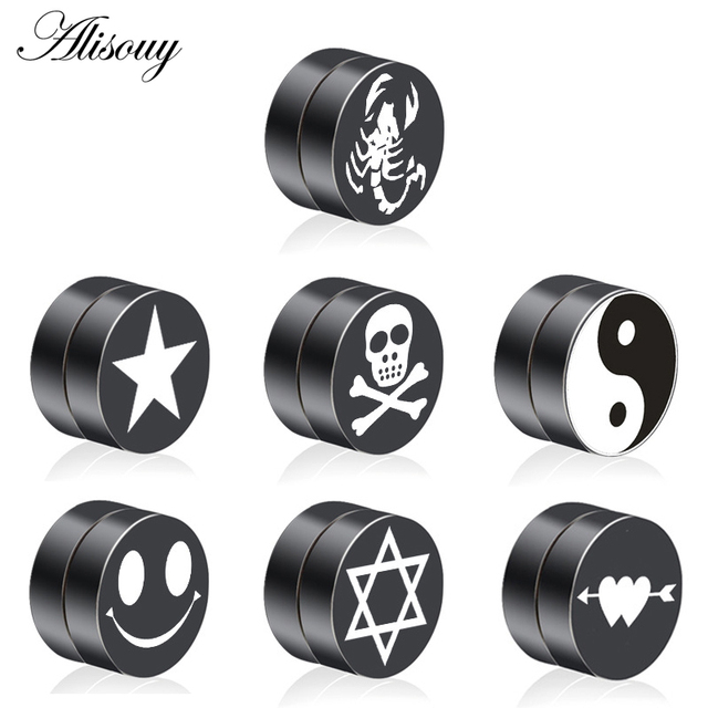 Pair Mens Earring Set Stainless Steel Circle Magnetic Clip Stud Earrings Magnet Fake Plugs No Piercing
