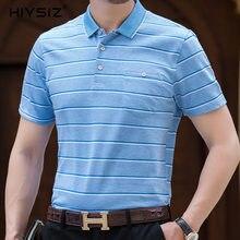 HIYSIZ T-Shirt Men 2019 Cotton Classic Plaid Turn-down Collar Streetwear Casual With Pocket British Style T Shirt Summer ST215