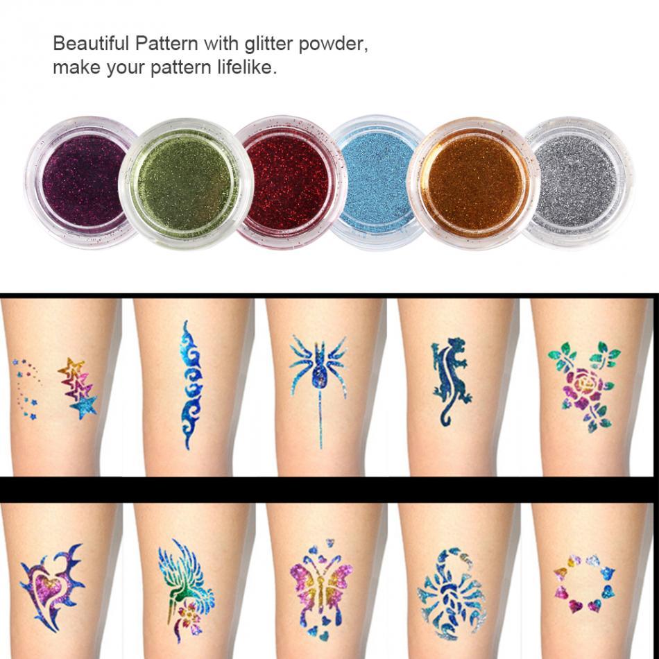 6 Farben Körper Gesicht Glitter Pulver Glitter Tattoos Diamantpulver ...
