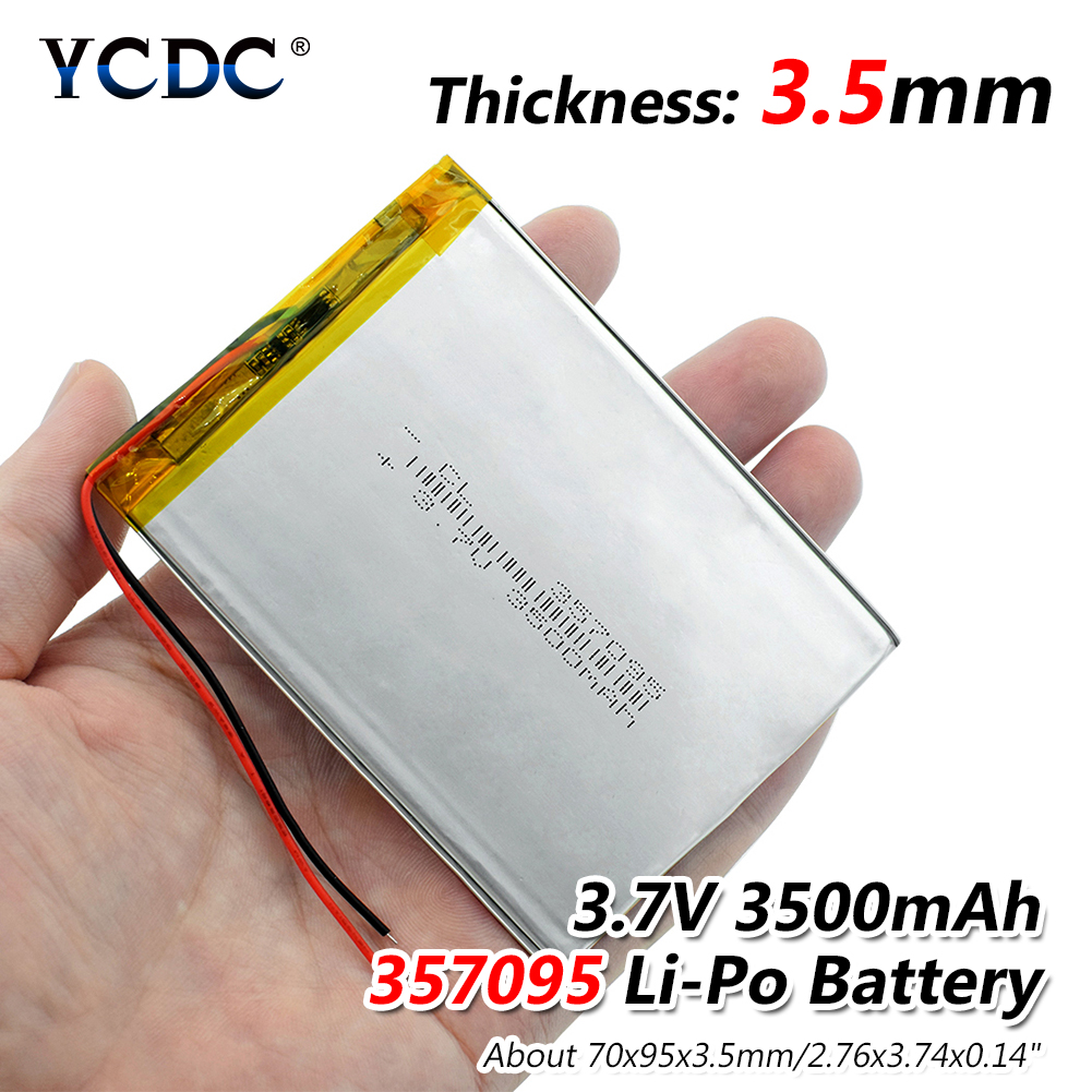 3.7V 3500mAh 357095 Lithium Polymer Li-Po li ion Rechargeable Battery Lipo cells For Mobile MP3 Searchlight interphone PDA POS 3 7v 12000mah 1640138 combination rechargeable lipo polymer lithium li ion battery for power bank tablet pc laptop pad pcm board