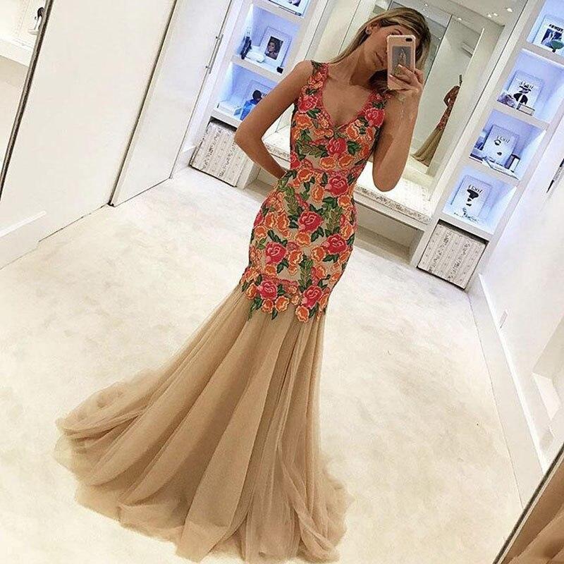 Mode Kleidung Abendkleider Prom Bunte Tiefer Sleeveless Lange V Blumen Appliqued 2019 Partykleid Champagner Ausschnitt Meerjungfrau Formelle TK1clF3J