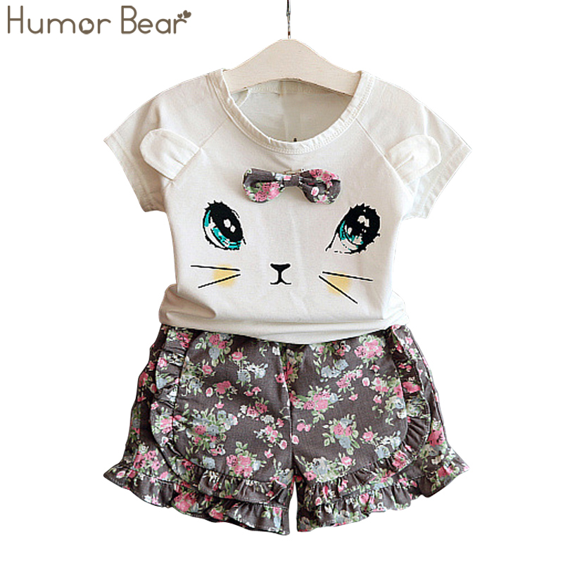 Humor Bear Girls Clothes Fashion Cartoon Short Sleeve T-Shirt+ Pant 2PCS Baby Girls Clothing Set Kids Clothes Set Girls Suit louane paris