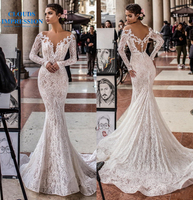 CLOUDS IMPRESSION Sexy long Sleeve Mermaid Wedding Dresses 2019 Lace V neck Bridal Gown Vestido De Noiva Ruched