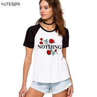 Nothing Letter Print T Shirt Rose Harajuku T Shirt Women Clothing Summer Casual T Shirt Cotton