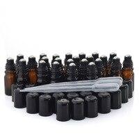 24 X גליל שמן על אתרי זכוכית ענבר 5 ml בקבוקי בקבוקים עם מכסה מכסה שחור הרים כדור נירוסטה בושם ארומתרפיה