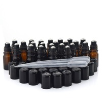 24 X 5ml Amber Glass Essential Oil Roll On Bottles Vials With Stainless Steel Roller Ball