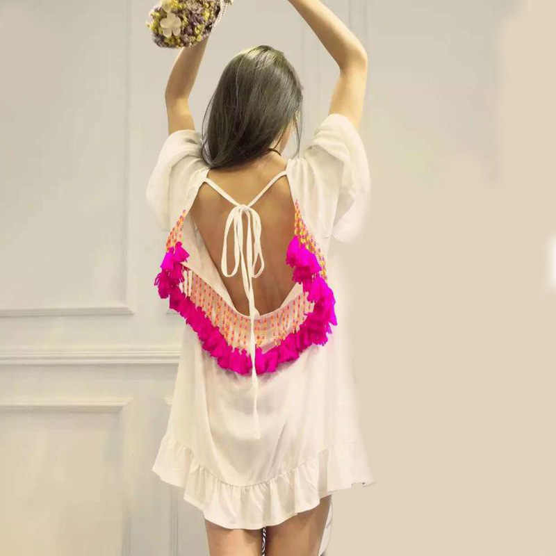 1411c5c1c479b ... Vestidos Sexy Ruffles Women Dress Summer Backless Pareo Dresses Party Short  Mini Beach Tunic Tassel Beads ...