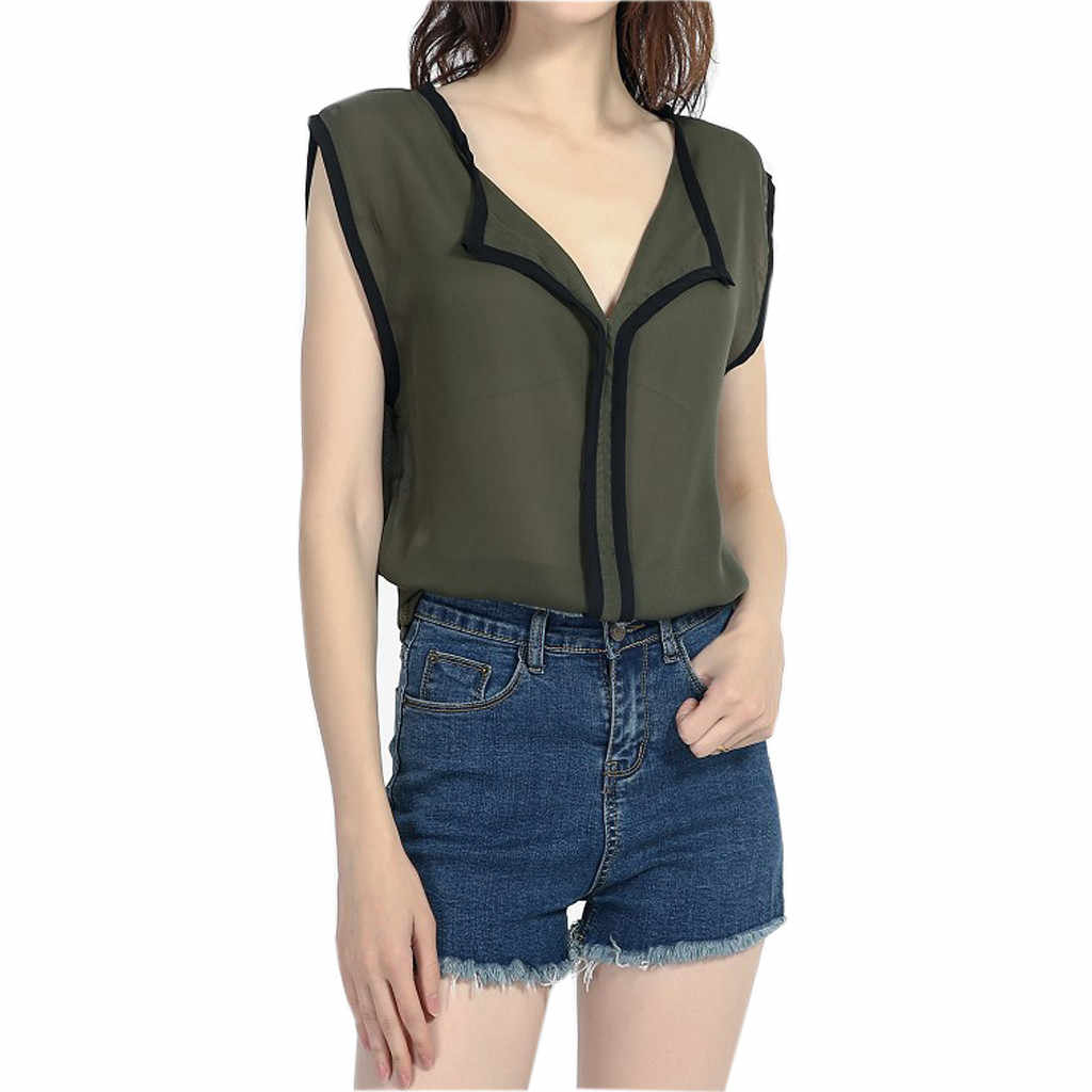 blusas mujer de moda 2019 women's blouse shirt Women's Sleeveless V-Neck Casual Solid Fresh Sweet Chiffon Shirt Blouse