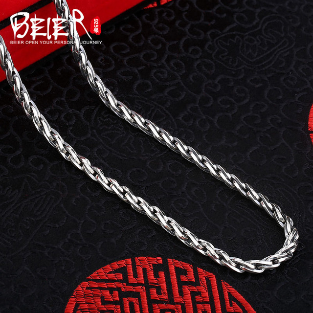 Beier new store 100% 925 silver sterling necklaces pendants trendy fine jewelry chains necklace for women/men  BR925XL035